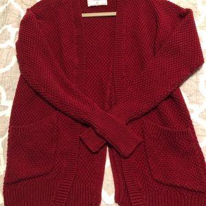 Red Abercrombie cardigan, size medium.